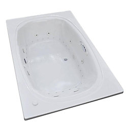 Universal Tubs Peridot Diamond 6.6 Ft. Acrylic Drop-in Right Drain Oval Whirlpool and Air Bathtub in White
