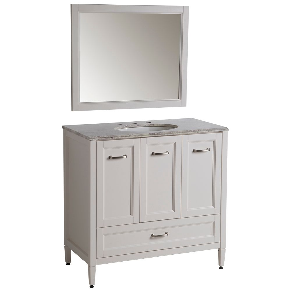 St. Paul Sierra 36 Inch. Vanity in Cream with Stone Effects Vanity Top in Winter Mist