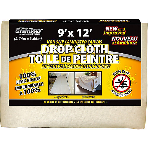 Non Slip Laminated Canvas Drop Cloth 9 Feet x 12 Feet - (2-Pack)