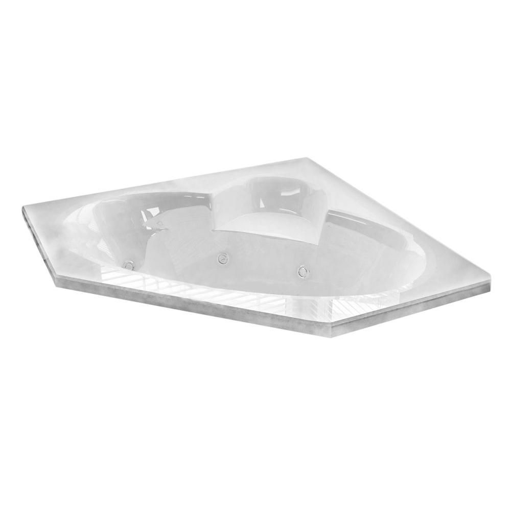 Universal Tubs Malachite Diamond 5 Ft. Acrylic Drop-in Left Drain Corner Whirlpool and Air Bathtub in White