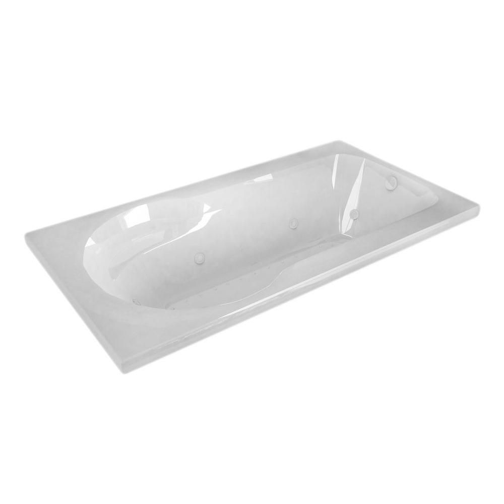 Zircon Diamond 5 ft. Acrylic Drop-in Right Drain Rectangular Whirlpool and Air Bathtub in White