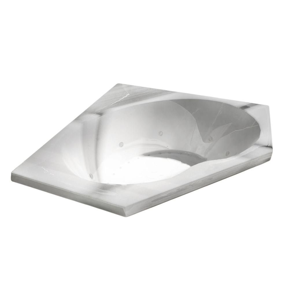 Quartz 5 Feet Acrylic Corner Drop-in Whirlpool Bathtub in White