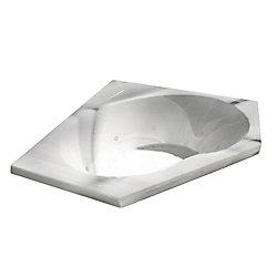 Universal Tubs Quartz Diamond 5 Ft. Acrylic Drop-in Left Drain Corner Whirlpool and Air Bathtub in White