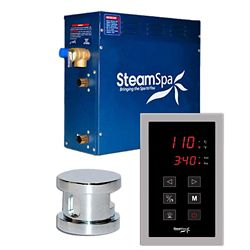 Steamspa Oasis 4.5kw Touch Pad Steam Generator Package in Chrome