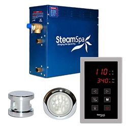 Steamspa Indulgence 7.5kw Touch Pad Steam Generator Package in Chrome