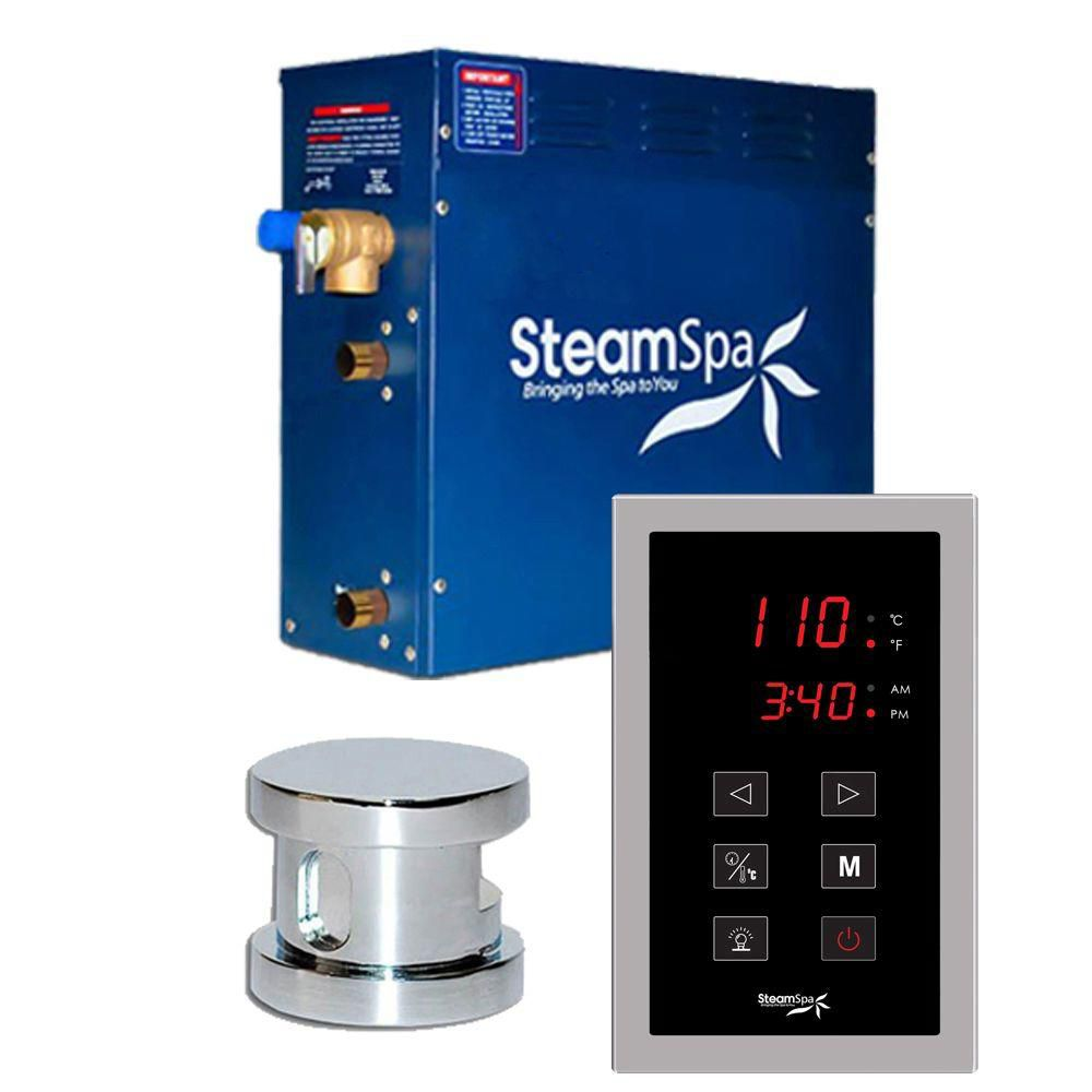 Oasis 9kw Touch Pad Steam Generator Package in Chrome
