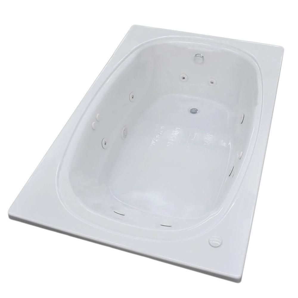Universal Tubs Peridot 6 Ft. Acrylic Drop-in Left Drain Oval Whirlpool Bathtub in White