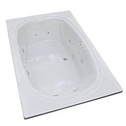 Universal Tubs Peridot 6.6 Ft. Acrylic Drop-in Left Drain Oval Whirlpool Bathtub in White