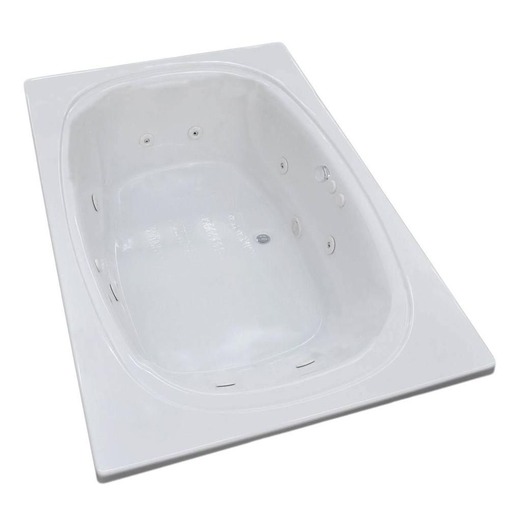 Universal Tubs Peridot 6.6 Ft. Acrylic Drop-in Right Drain Oval Whirlpool Bathtub in White