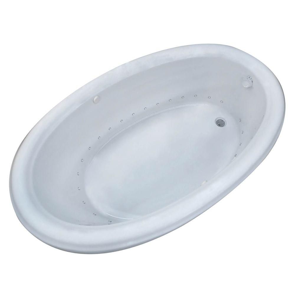 Topaz 6 Feet 6-Inch Acrylic Oval Drop-in Whirlpool Bathtub in White