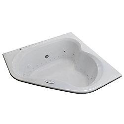 Universal Tubs Beryl Diamond 5 Ft. Acrylic Drop-in Right Drain Corner Whirlpool and Air Bathtub in White