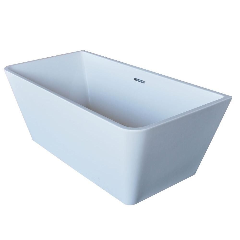 PureCut 5 Feet 6-Inch Acrylic Rectangular Freestanding Non Whirlpool Bathtub in White