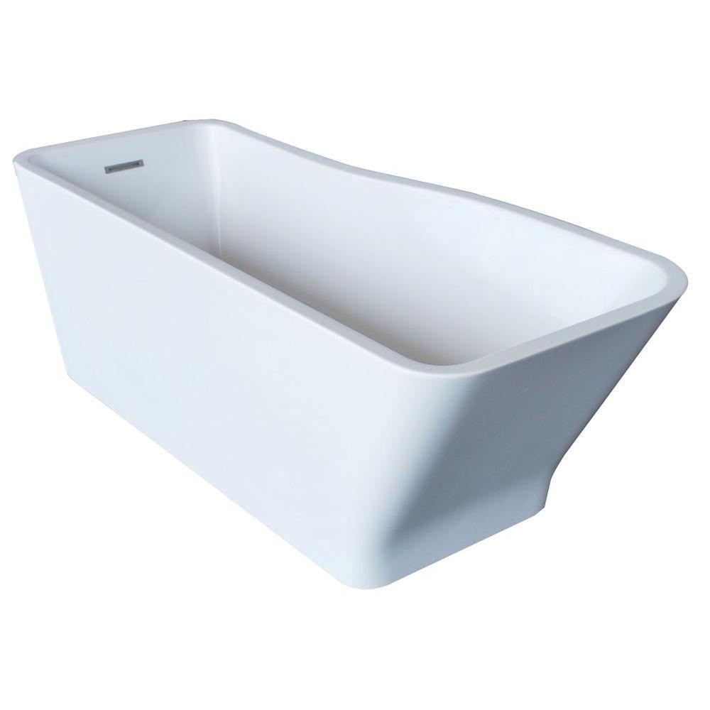 Universal Tubs PureCut 5 Feet Acrylic Rectangular Freestanding Non Whirlpool Bathtub in White