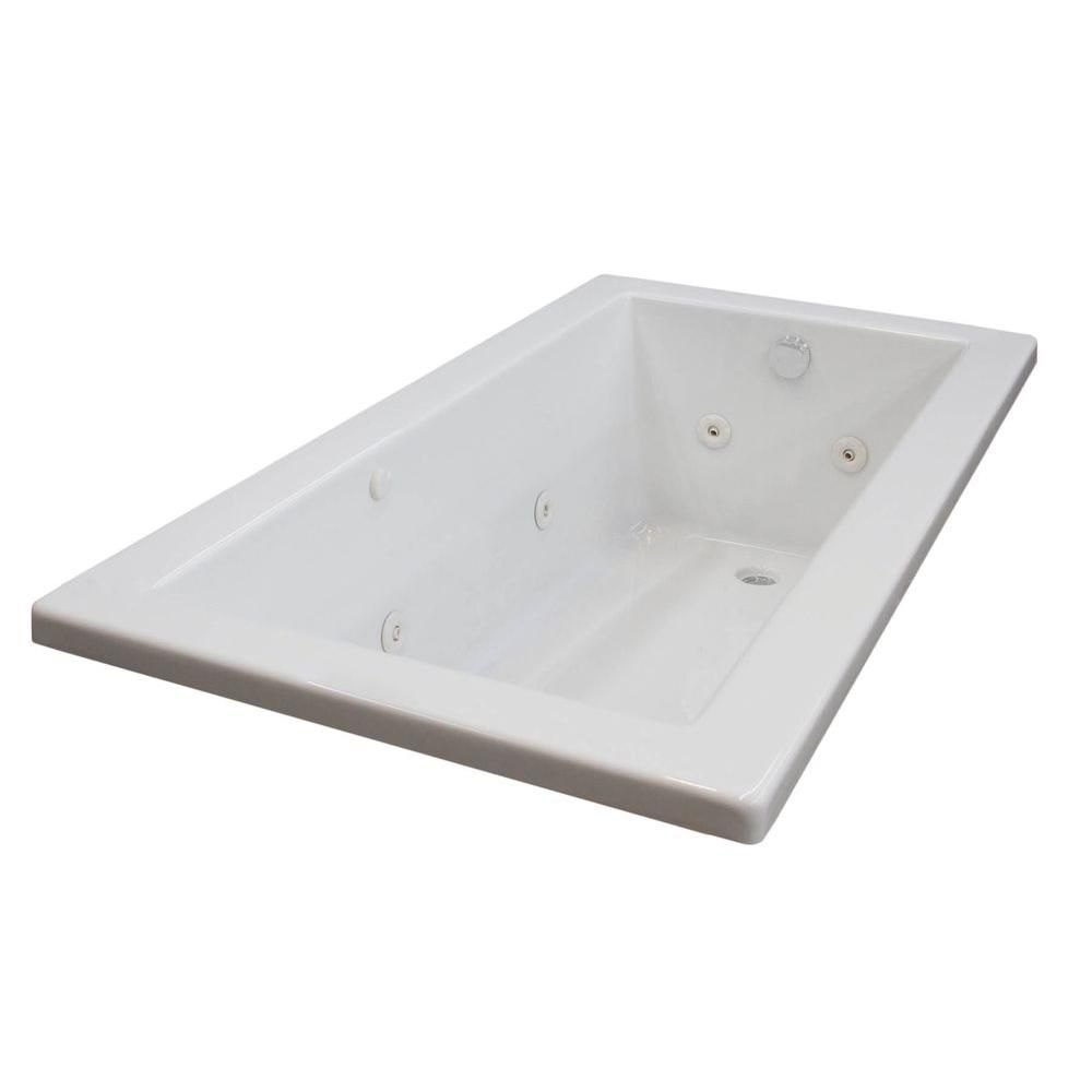 Sapphire 6.2 ft. Acrylic Drop-in Right Drain Rectangular Whirlpool Bathtub in White