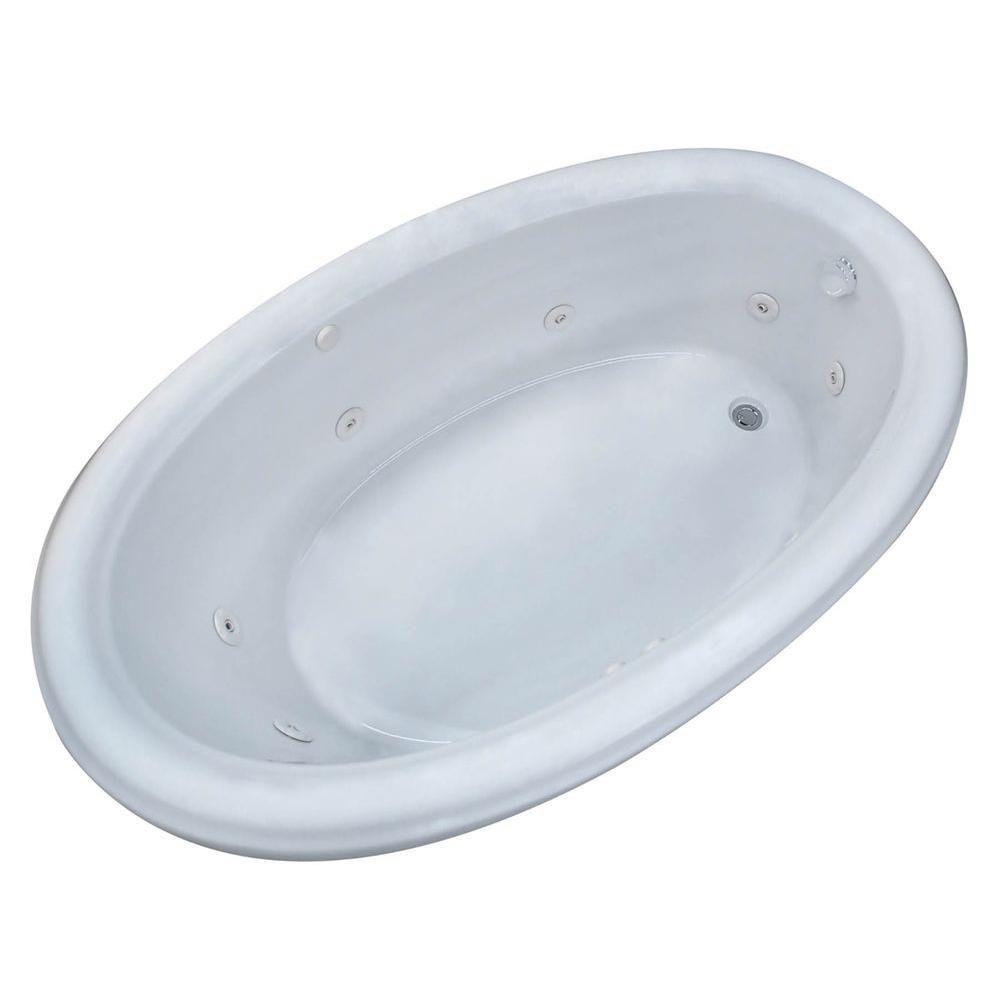 Topaz 6 Feet 6-Inch Acrylic Oval Drop-in Whirlpool Bathtub in White
