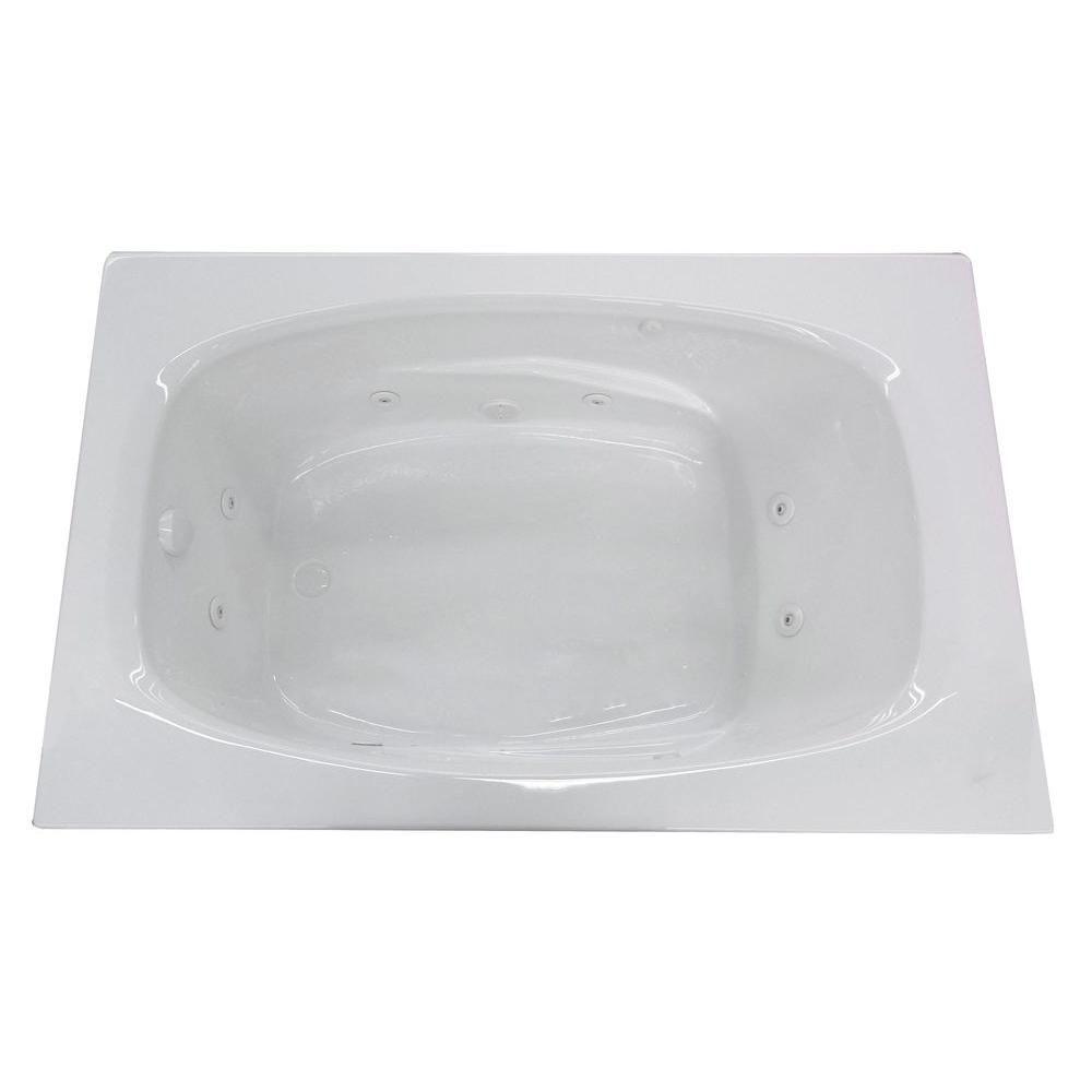 Tiger's Eye 6 ft. Acrylic Drop-in Right Drain Rectangular Whirlpool Bathtub in White