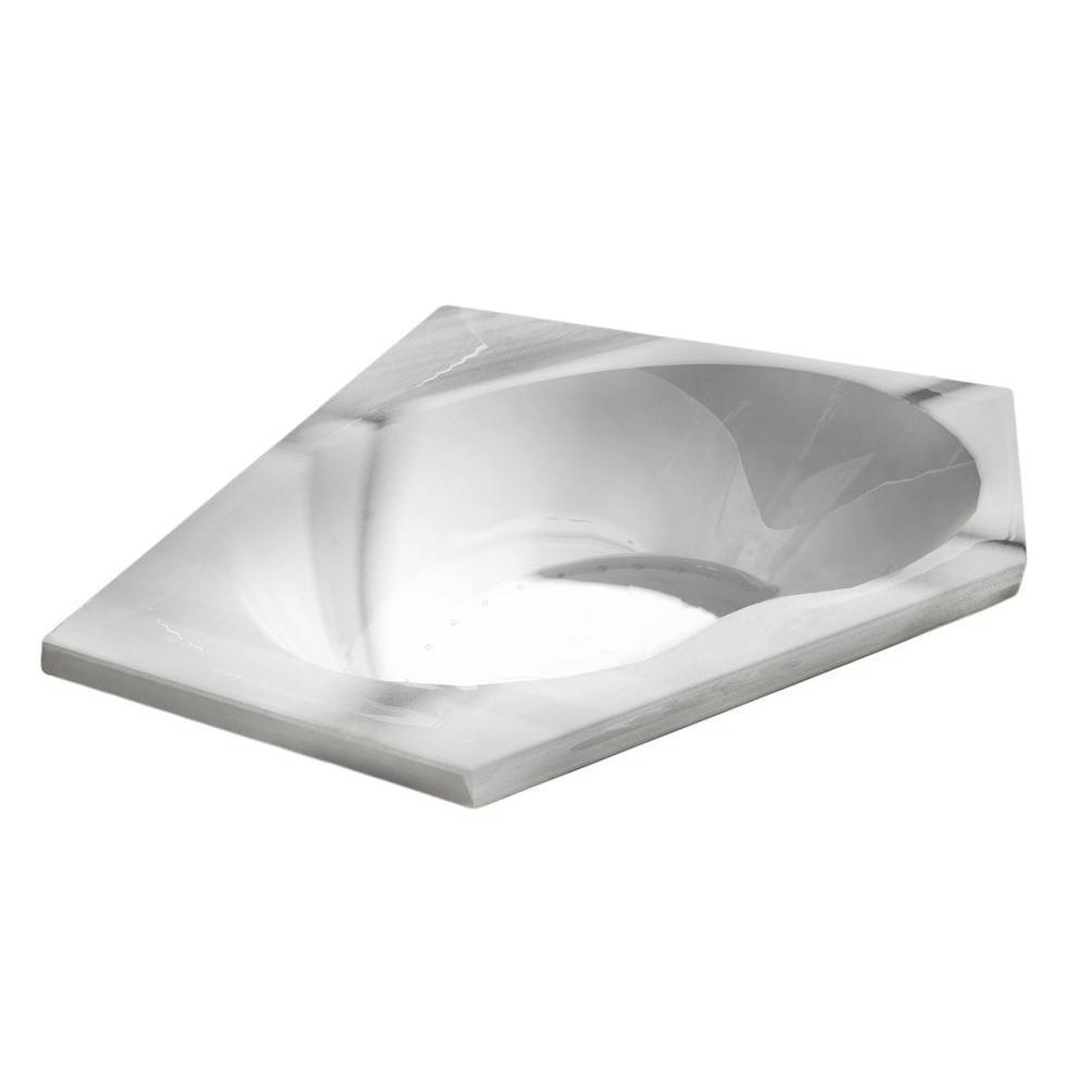 Universal Tubs Quartz 5 Ft. Acrylic Drop-in Right Drain Corner Air Bathtub in White