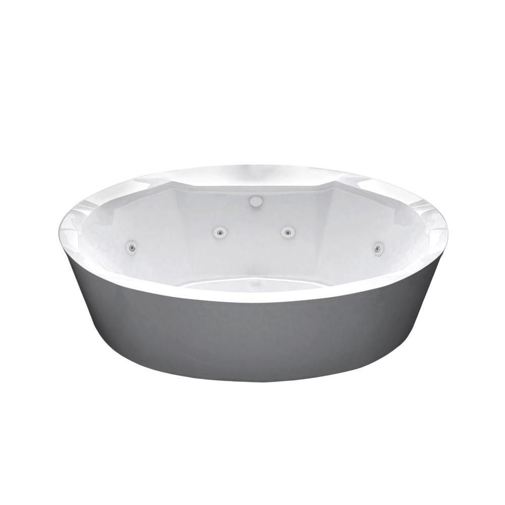 Sunstone 5 Feet 8-Inch Acrylic Oval Freestanding Flatbottom Whirlpool Bathtub in White