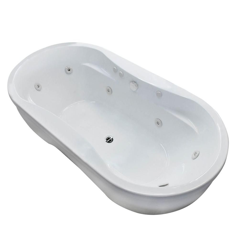 Agate 6 Feet Oval Freestanding Whirlpool Jetted Bathtub