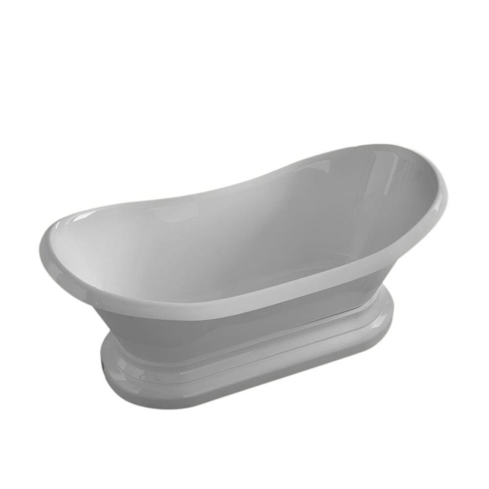 Universal Tubs Ivory 6 ft. Acrylic Centre Drain Oval Bathtub in White