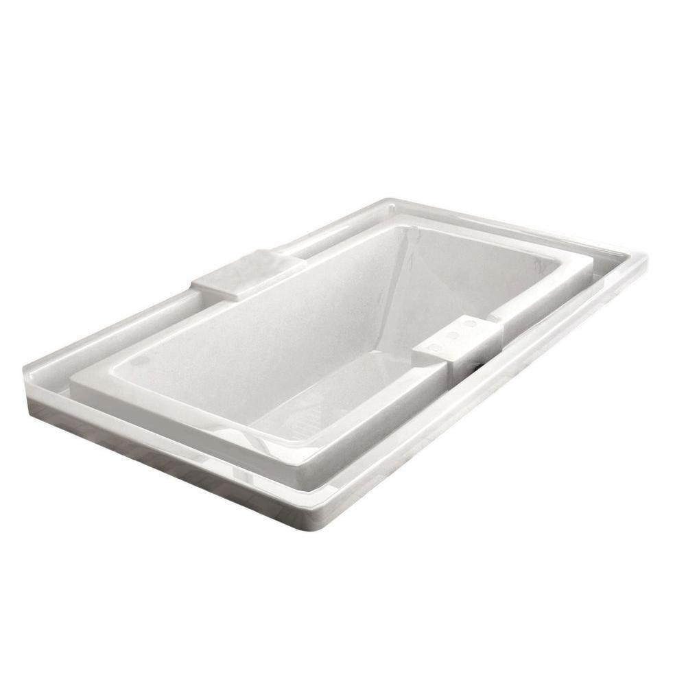 Opal 6 Feet 6-Inch Acrylic Drop-in Endless Flow Non Whirlpool Bathtub in White