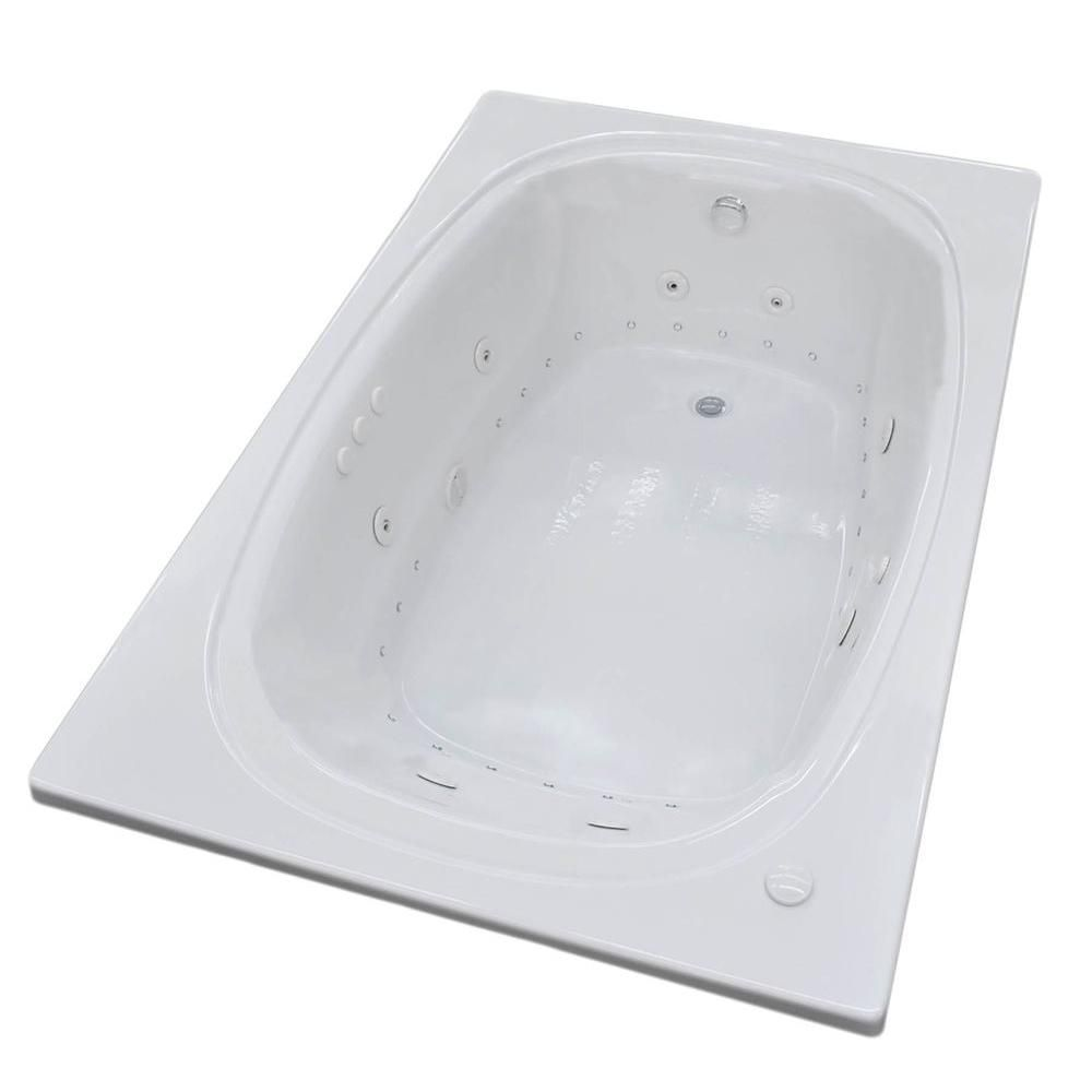 Peridot 6 Feet Acrylic Oval Drop-in Whirlpool Bathtub in White