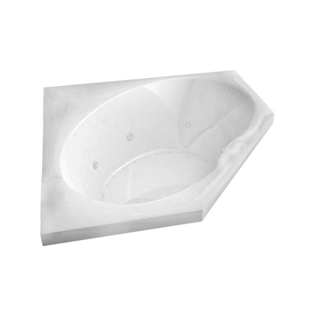 Universal Tubs Mali 5 Ft. Acrylic Drop-in Left Drain Corner Whirlpool and Air Bathtub in White