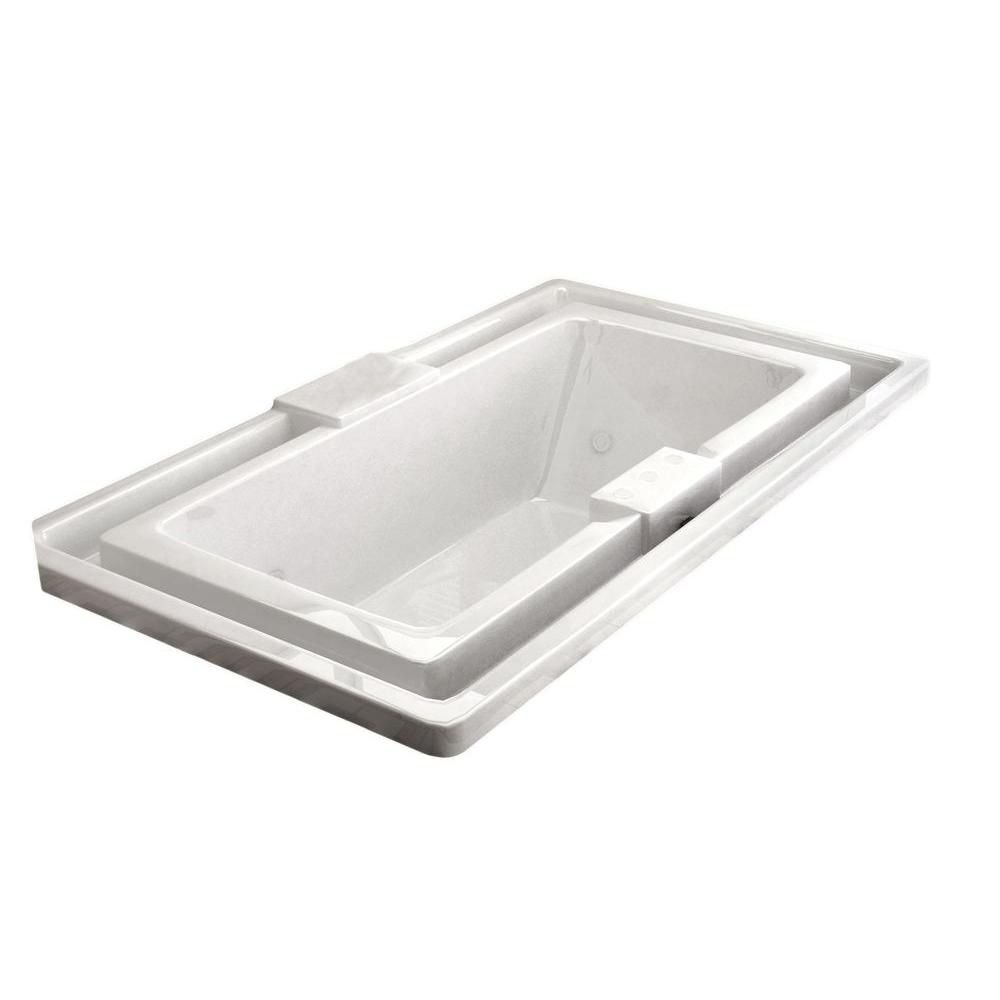 Opal Endless Flow 6.6 Ft. Acrylic Drop-in Right Drain Rectangular Whirlpool Bathtub in White