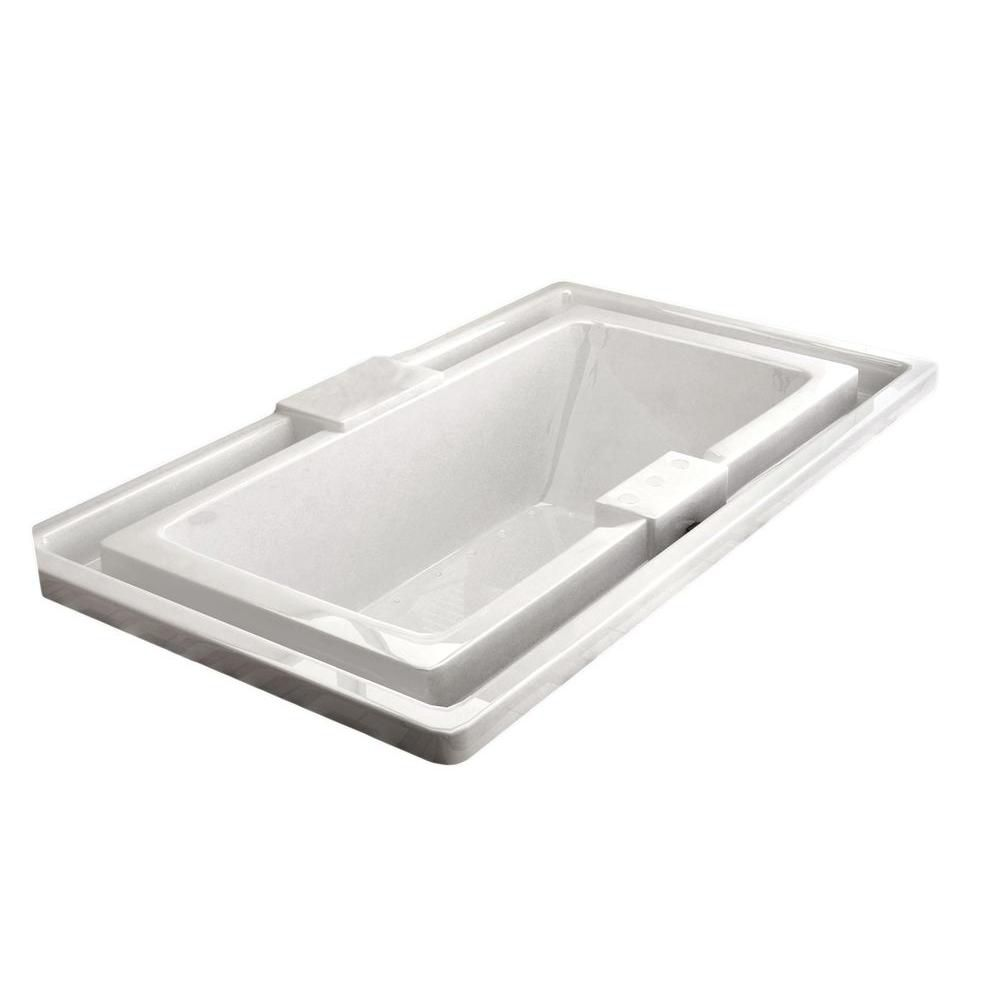Opal Endless Flow 6.6 Ft. Acrylic Drop-in Left Drain Rectangular Air Bathtub in White
