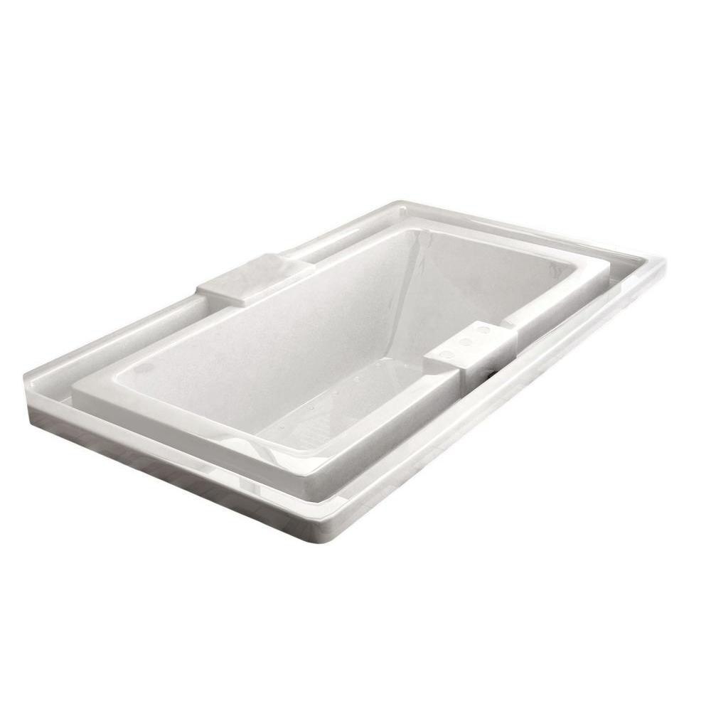 Opal Endless Flow 6.6 Ft. Acrylic Drop-in Right Drain Rectangular Air Bathtub in White