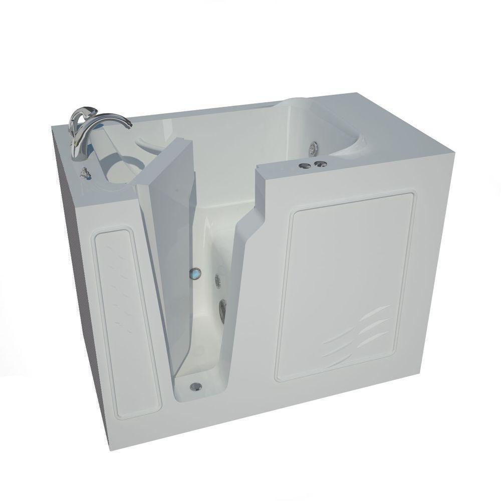 4 Feet 4-Inch Walk-In Whirlpool Bathtub in White