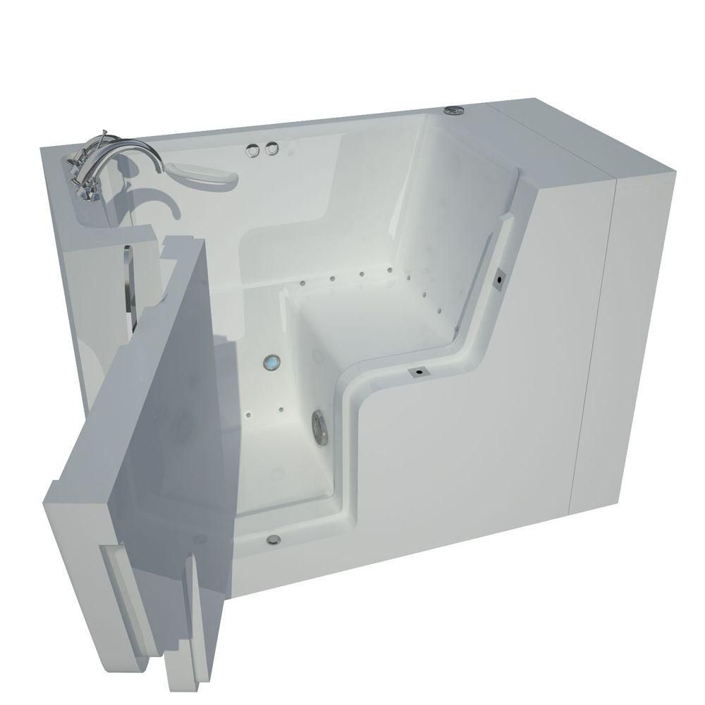 4 Feet 5-Inch Wheelchair Accessible Walk-In Whirlpool Bathtub in White