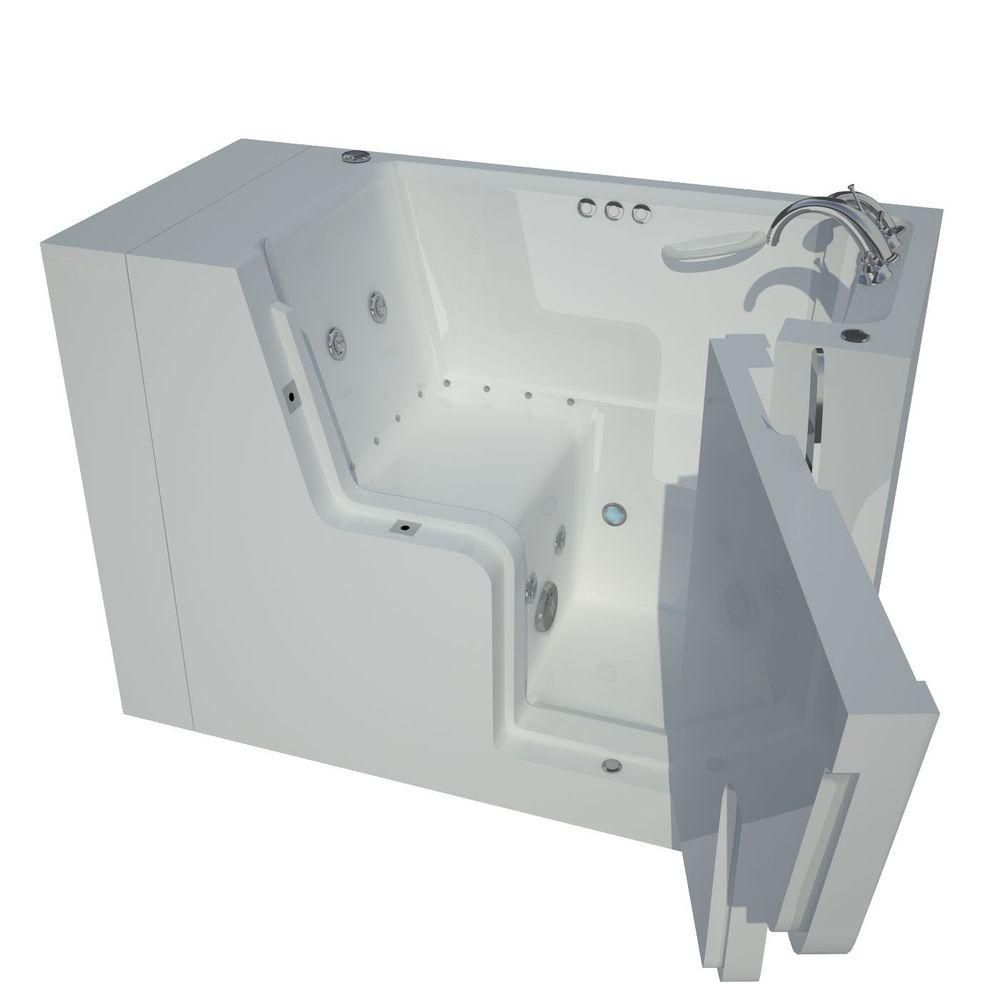 4 Feet 5-Inch Wheelchair Accessible Walk-In Whirlpool Bathtub in White