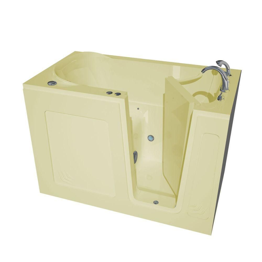 4 ft. 6-inch Right Drain Walk-In Air Bathtub in Biscuit