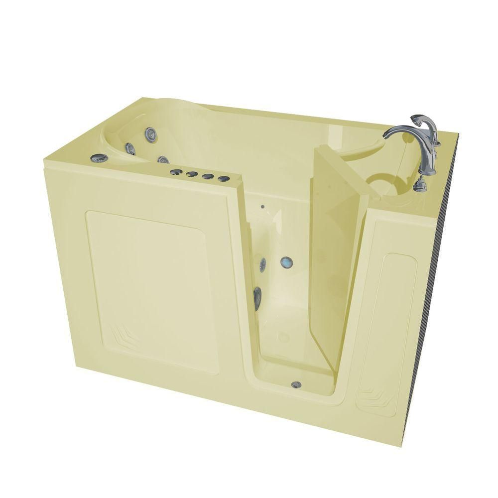 4 Feet 6-Inch Walk-In Whirlpool Bathtub in Biscuit
