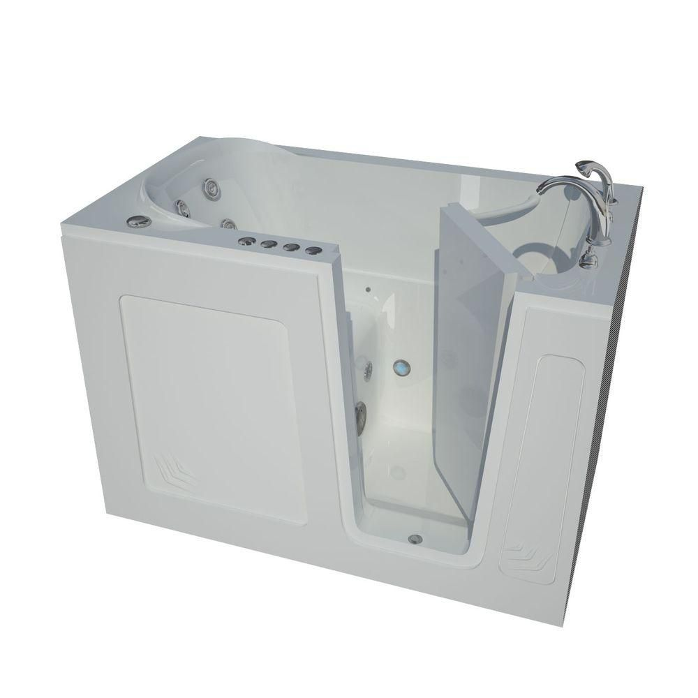 Universal Tubs 4.5 ft. Right Drain Walk-In Whirlpool and Whirlpool Air Bath Tub in White