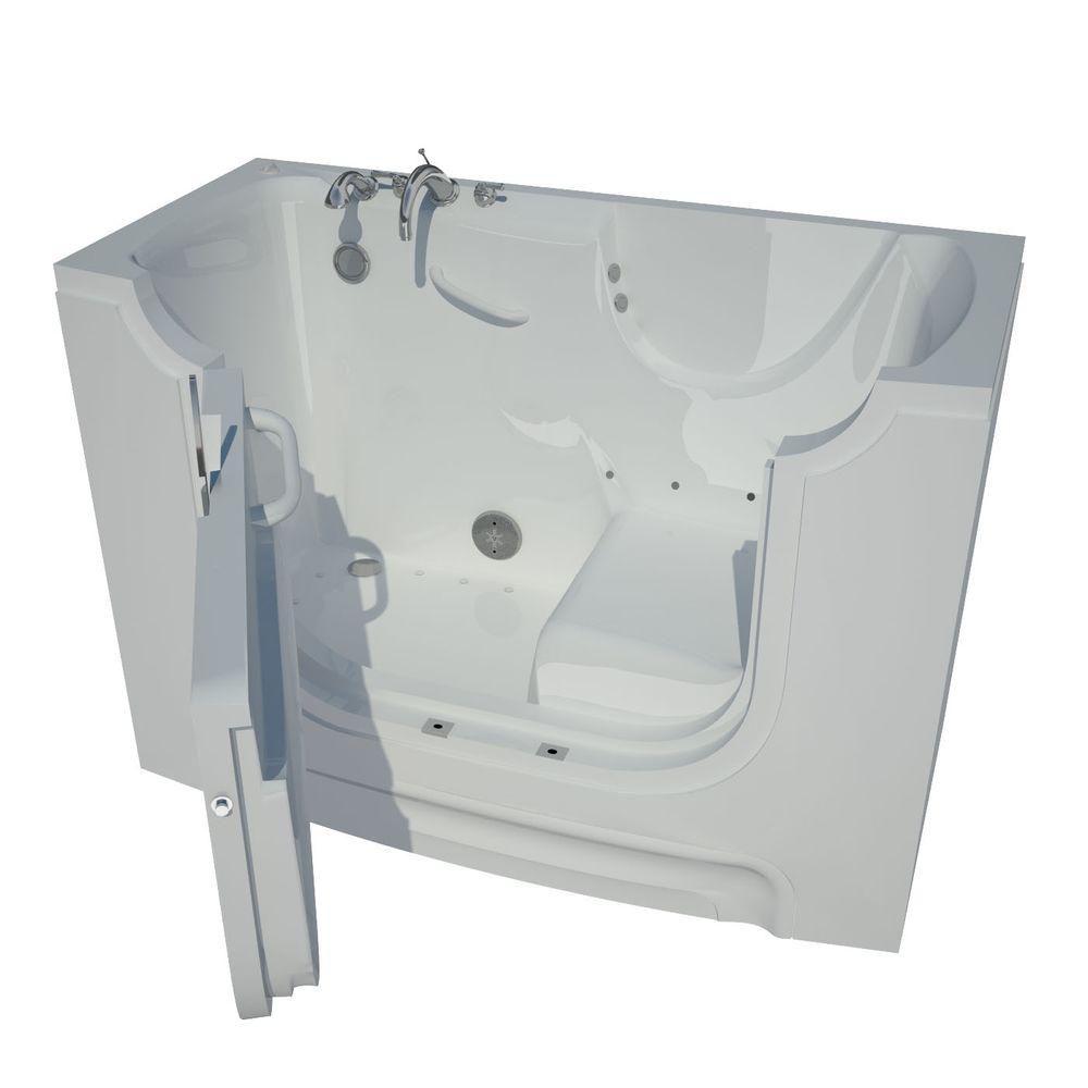 5 Feet Wheelchair Accessible Walk-In Whirlpool Bathtub in White