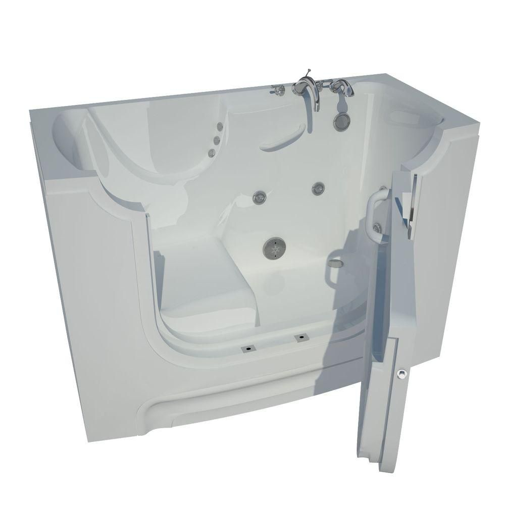 5 Feet Wheelchair Accessible Walk-In Whirlpool Bathtub in White