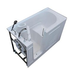 Universal Tubs 5 ft. Left Drain Walk-In Non Whirlpool Bathtub in White