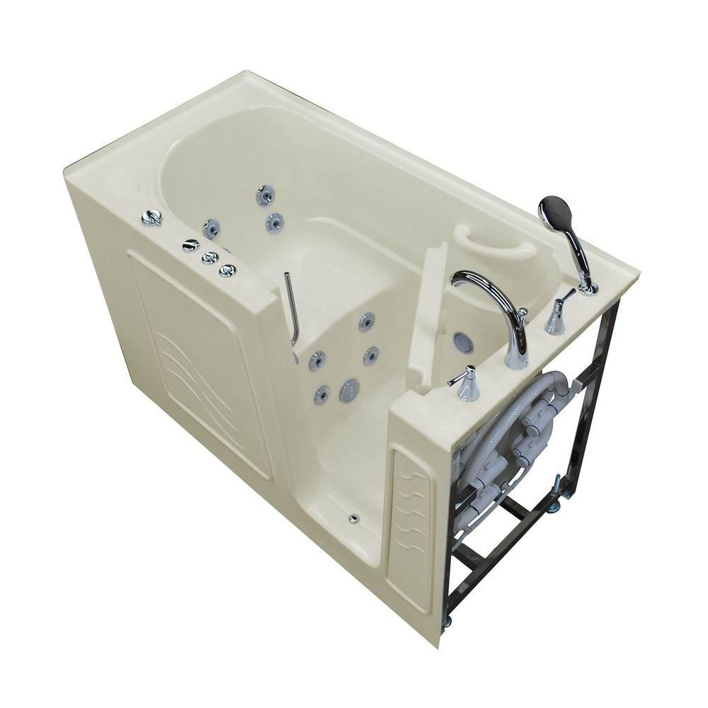 Universal Tubs 5 ft.Alcove Right Drain Walk-In Whirlpool Bathtub Outward Swing Chromatherapy in Biscuit
