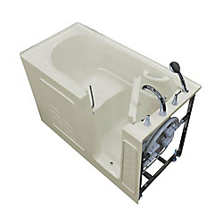 Universal Tubs 5 ft. Alcove Right Drain Walk-In Bathtub Outward Swing Grab Bar in Biscuit