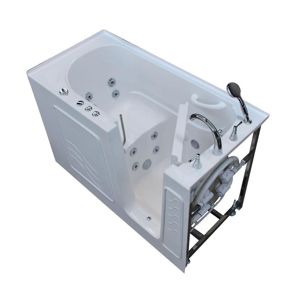 5 Feet Walk-In Whirlpool Bathtub in White