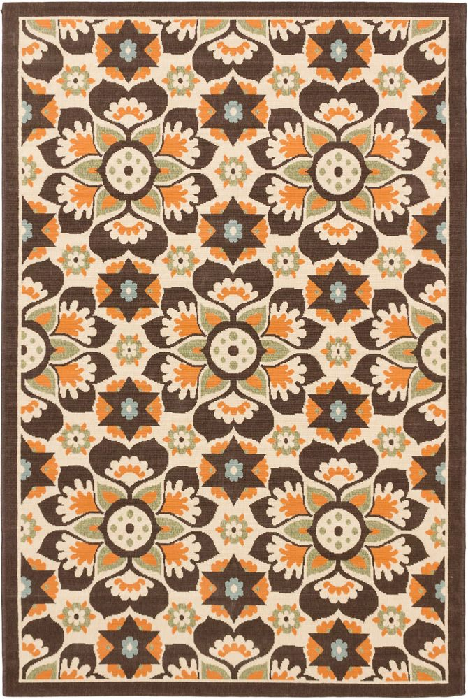 Tropicana Cream Dark Brown Rug - 6 Ft. 7 In. x 9 Ft. 5 In. 142953 Canada Discount