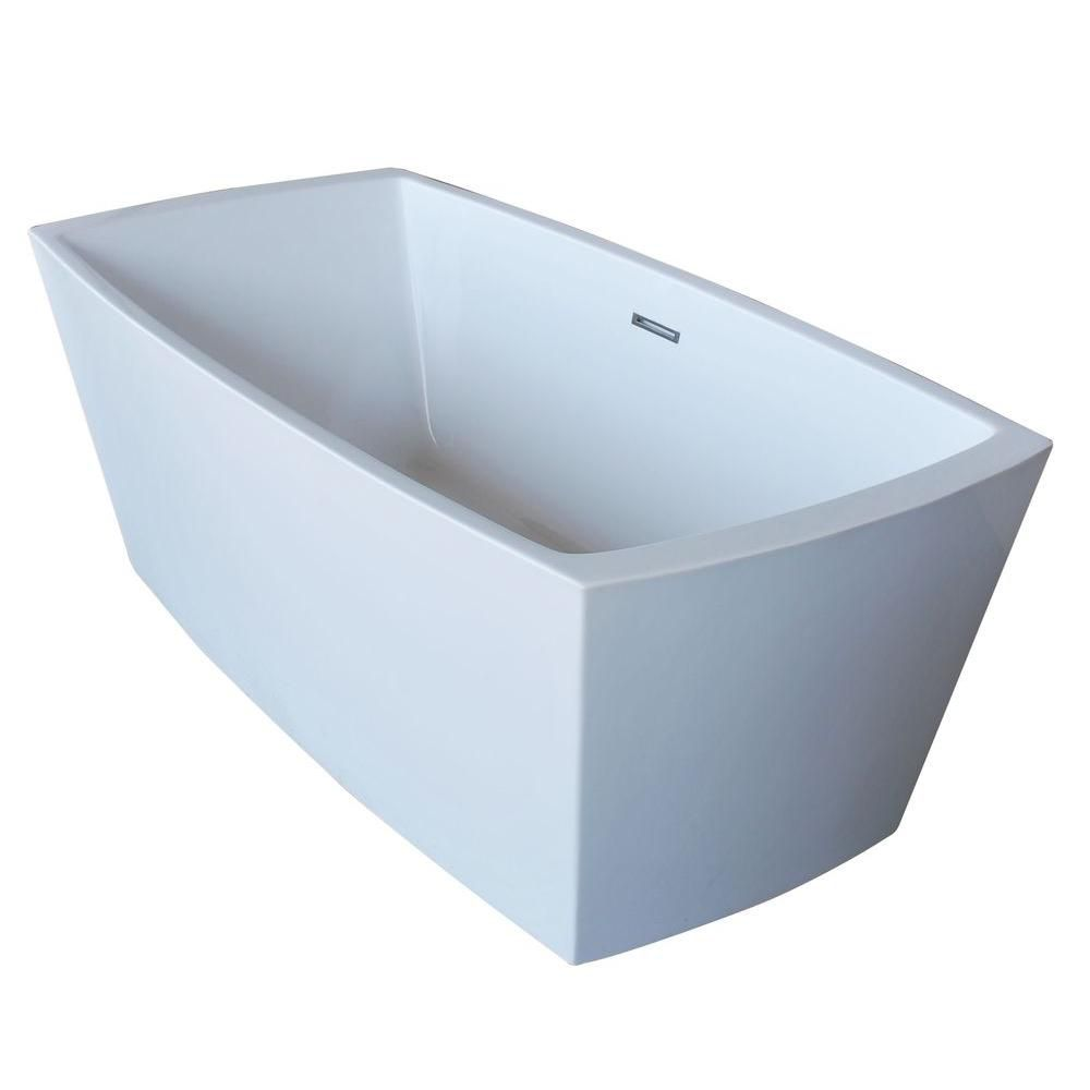 PureCut 5 Feet 6-Inch Acrylic Rectangular Freestanding Non Whirlpool Bathtub in White