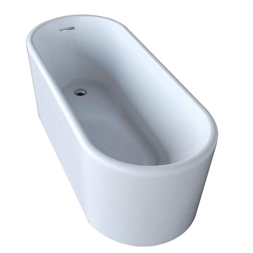 PureCut 5 Feet 6-Inch Acrylic Oval Freestanding Non Whirlpool Bathtub in White
