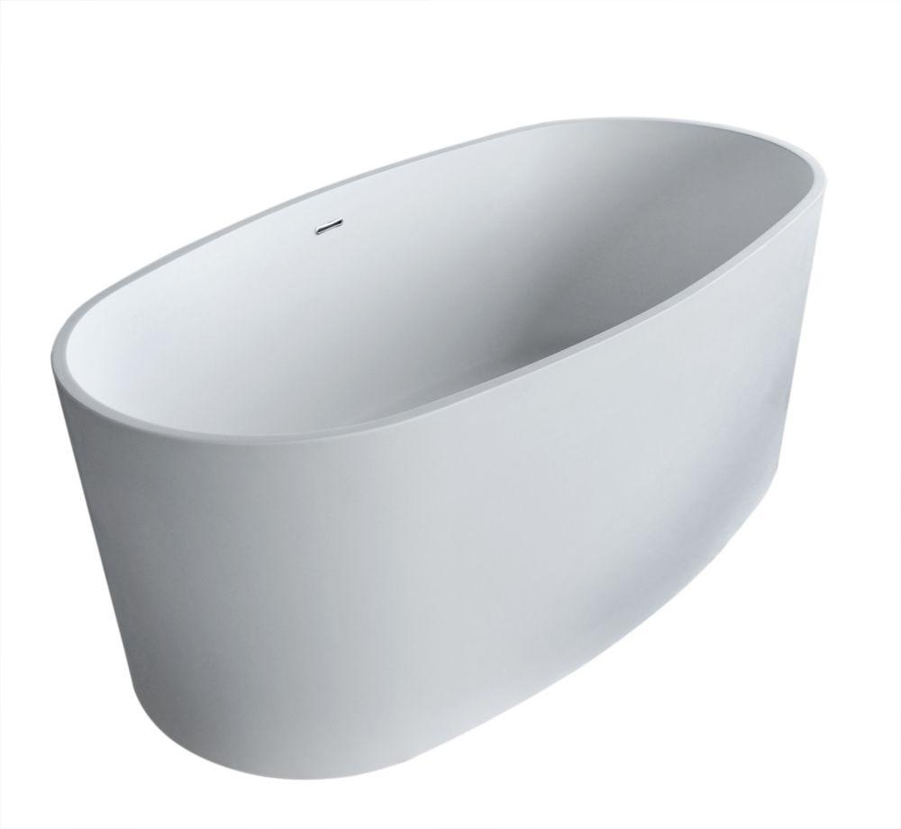 Spa Stone 5 Feet 2-Inch Artificial Stone Freestanding Flatbottom Non Whirlpool Bathtub in White