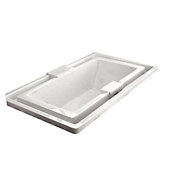 Universal Tubs Opal Endless Flow 6.6 Ft. Acrylic Drop-in Left Drain Rectangular Whirlpool and Air Bathtub in White