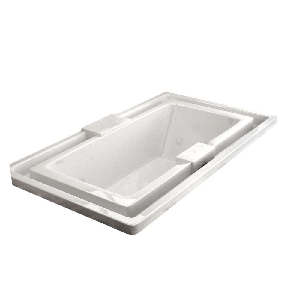 Universal Tubs Opal Endless Flow 6.6 Ft. Acrylic Drop-in Right Drain Rectangular Whirlpool and Air Bathtub in White