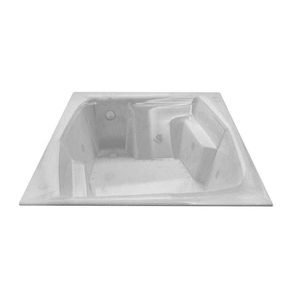 Universal Tubs Amethyst Diamond 6 Ft. Acrylic Drop-in Left Drain Rectangular Whirlpool and Air Bathtub in White