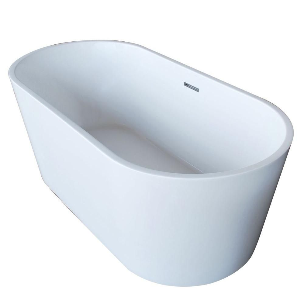 PureCut 5 Feet 6-Inch Acrylic Oval Freestanding Non Whirlpool Bathtub in White